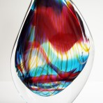 Blue & deep red with yellow stripes droplet glass