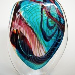 Deep Blue with red and yellow stripes bubble glass