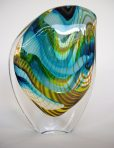 Blue Green Yellow Stripes Medium Droplet Glass