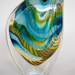 Blue Green Yellow Stripes Medium Droplet Glass