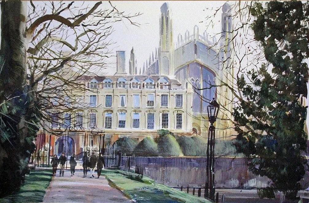 watercolour KIngs College Cambridge