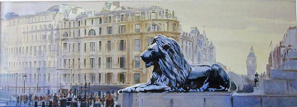 watercolour London Trafalgar square Lion