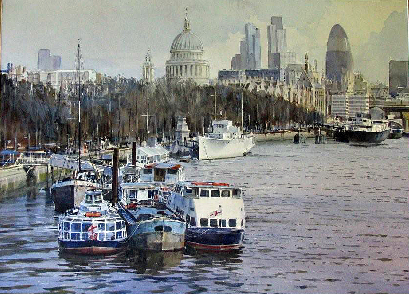 watercolour painting London river Thame view