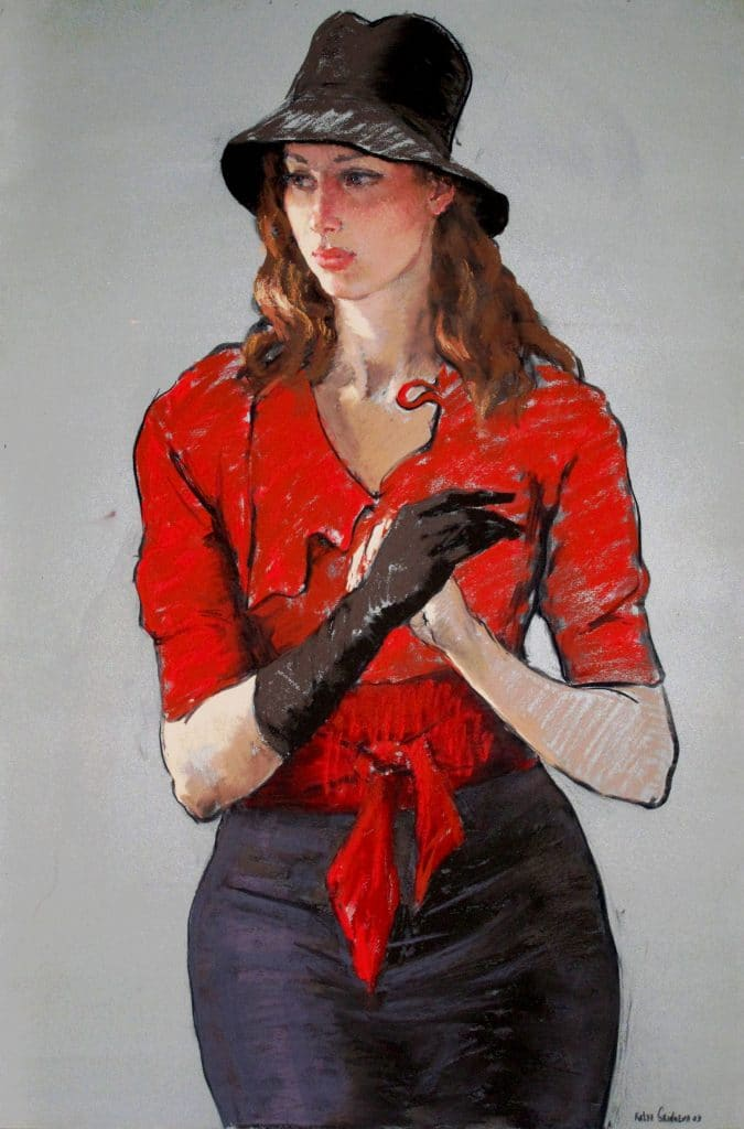 Lady in red with black hat